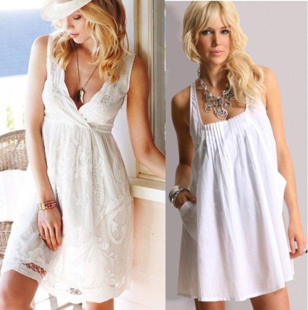 белые пляжные платья на фото