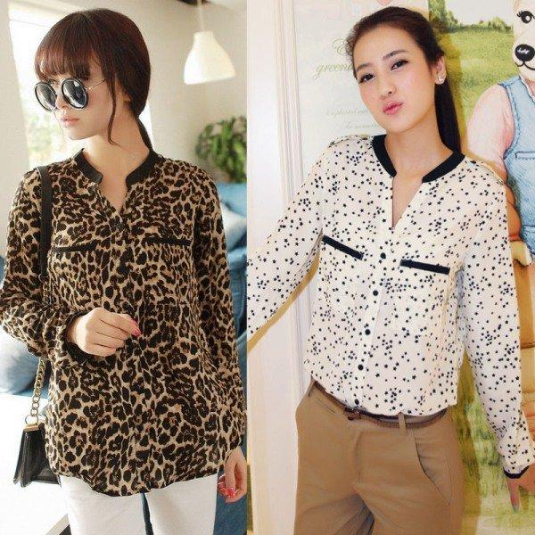 леопардовая блузка из шифона на фото