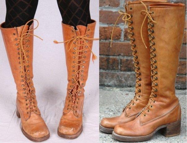 фото женских сапог на шнуровке