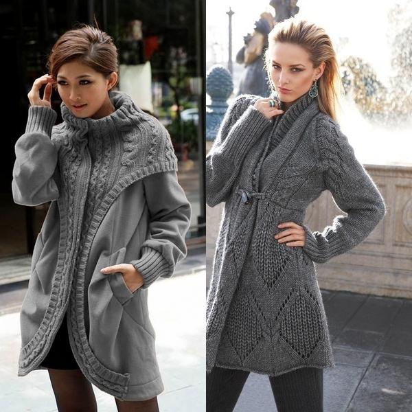 вязаные пальто 2017 модные женские тенденции с фото