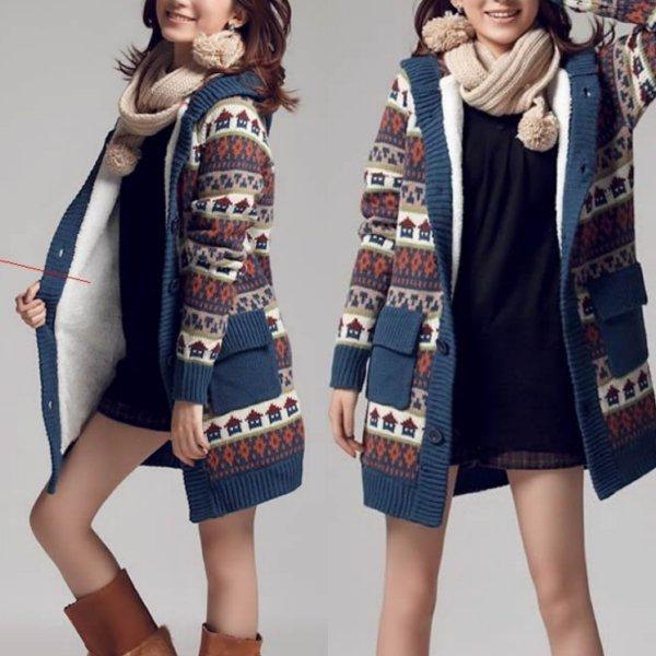 женское вязаное пальто на фото
