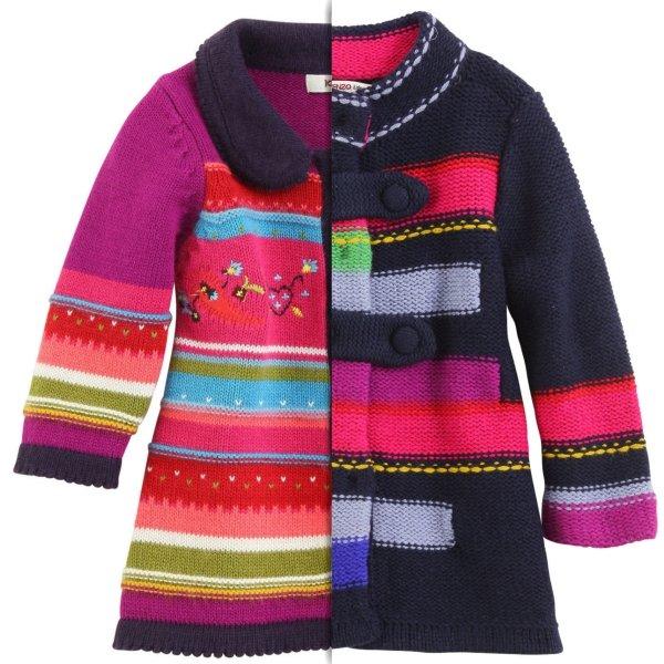фото вязаного детского пальто для девочки
