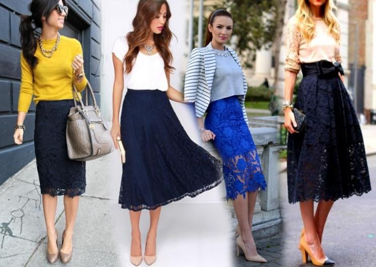 Кружевная юбка и кофта фото
