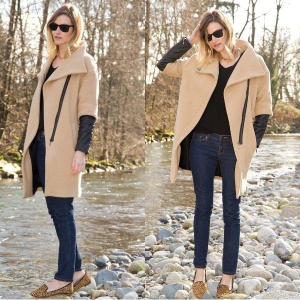 пальто с кожаными рукавамина фото