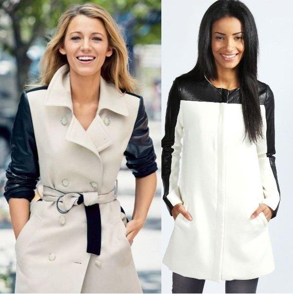 белое пальто с кожаными рукавами на фото