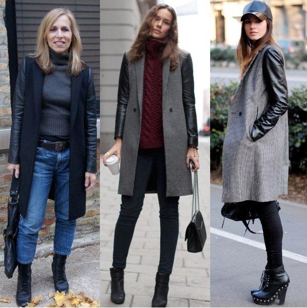 женское пальто с кожаными рукавами на фото