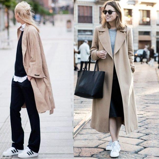 С чем носить серое пальто - фото