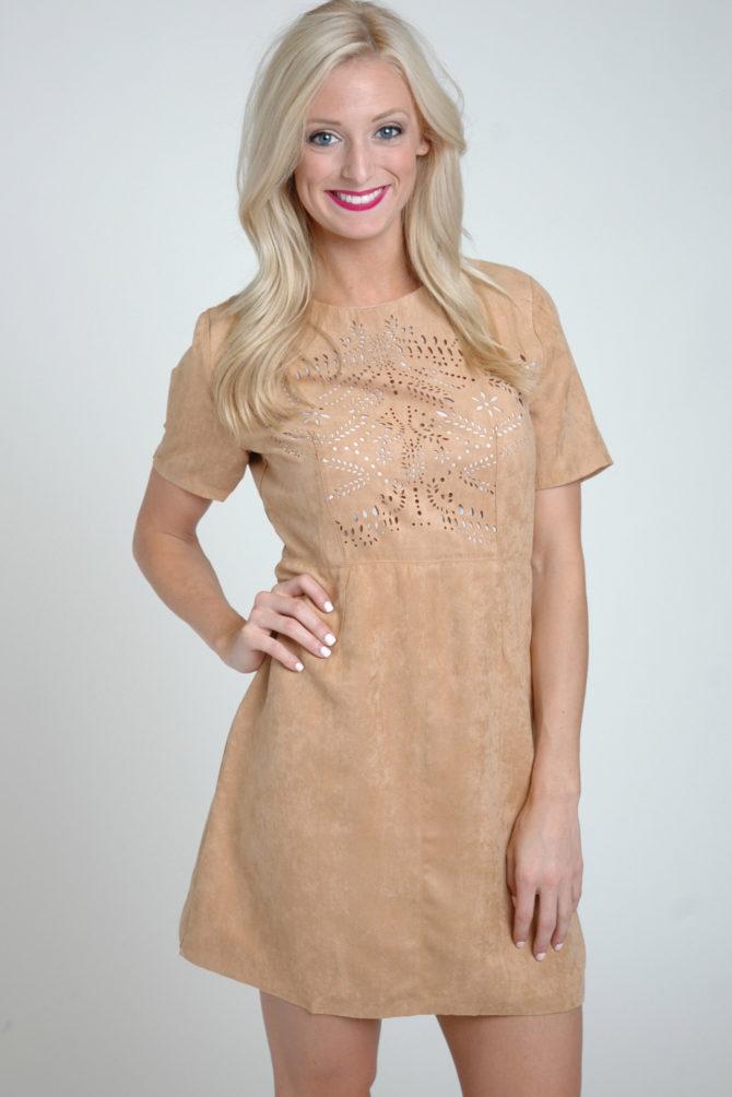 Кремовое замшевое платье