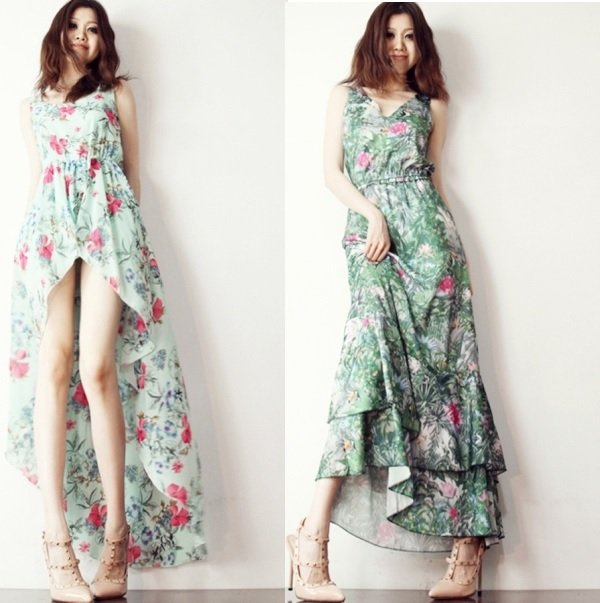 Длинные платья из шифона, фото
