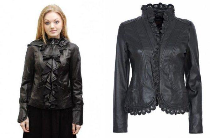 Кожаные куртки с декоративными накладками