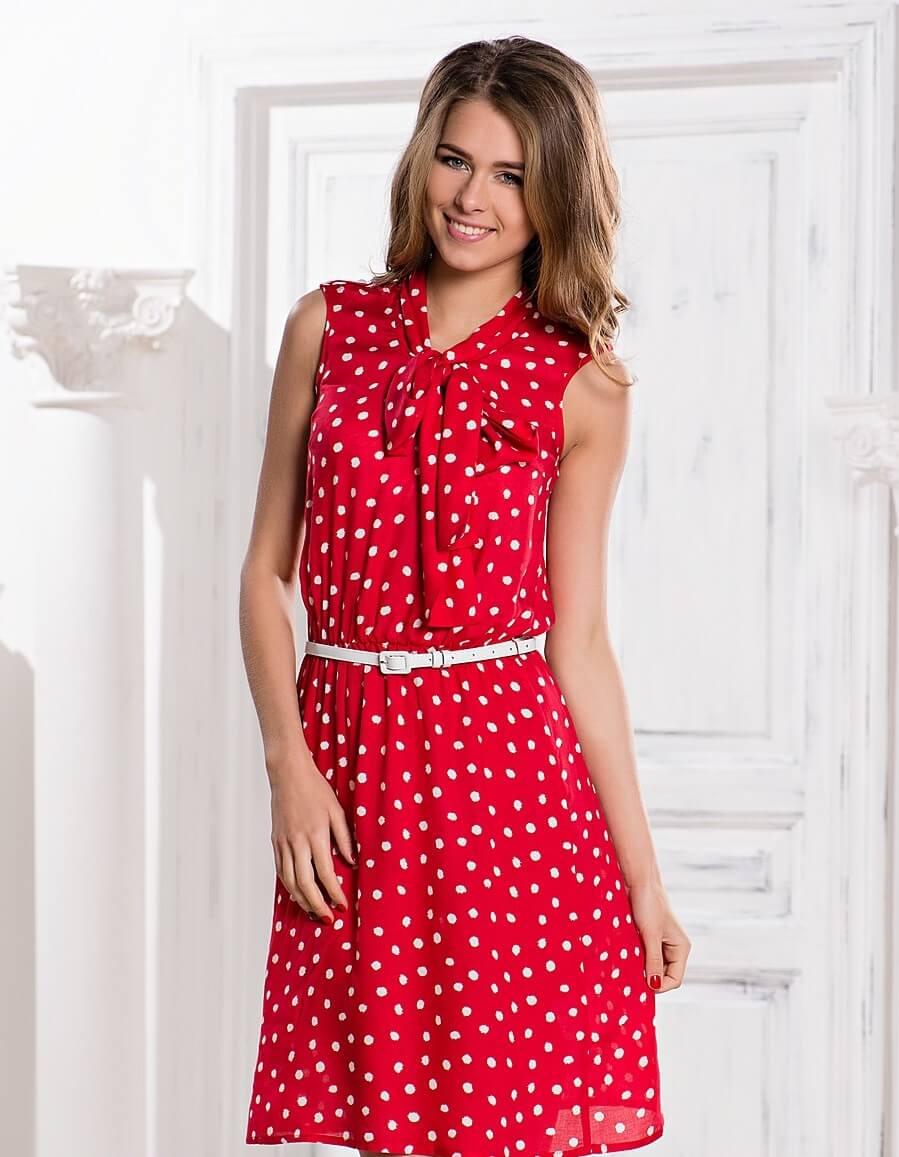 Черно-красные шифоновые платья