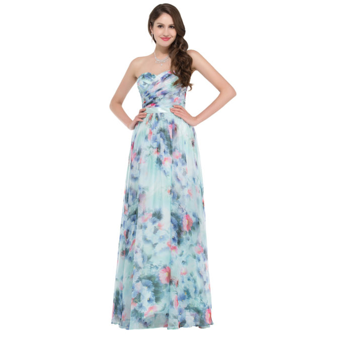Длинное платье с цветочным принтом