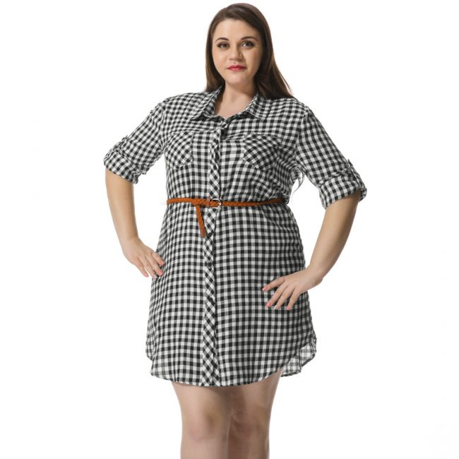 Платье рубашка для полных 2017