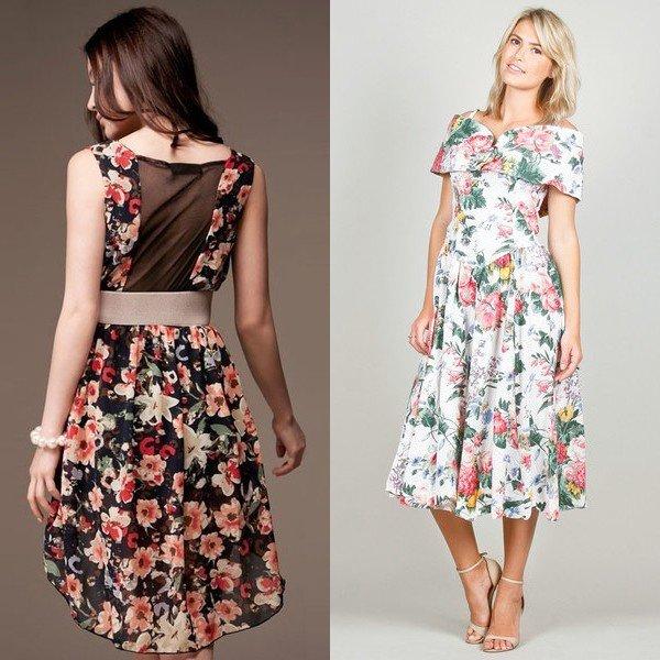 платья с цветочным принтом на фото