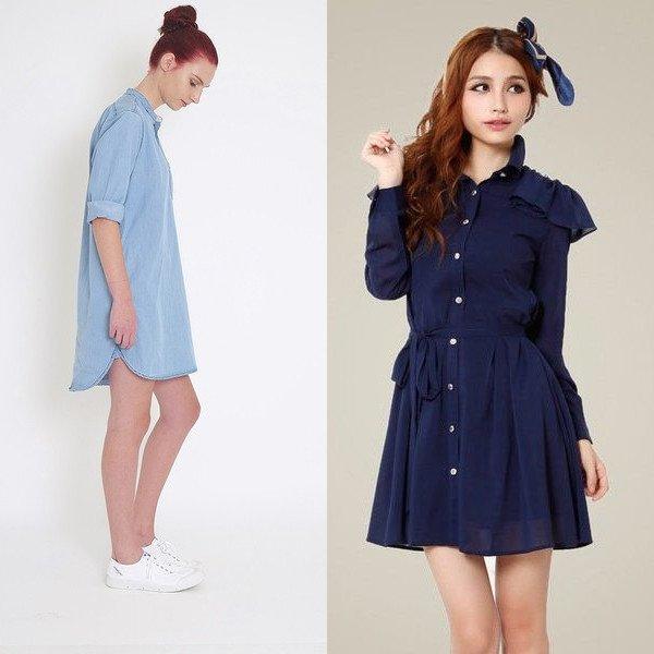 Модные платья рубашки 2017