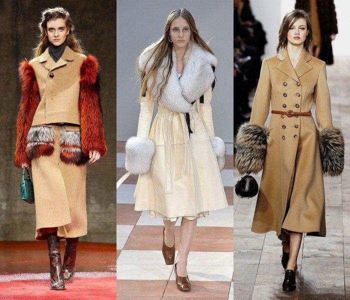 Коллекция пальто с меховыми рукавами и воротником
