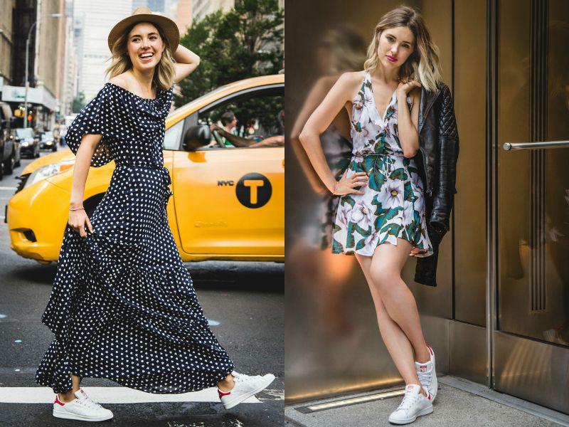 Две модели в спортивной обуви и летних шифоновых платьях