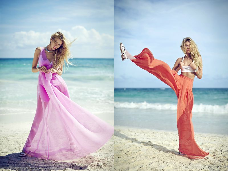 Две модели в шифоновых платьях в пол, на пляже