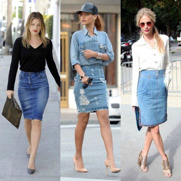 Сочетание джинсовых юбок и обуви на высоком каблуке