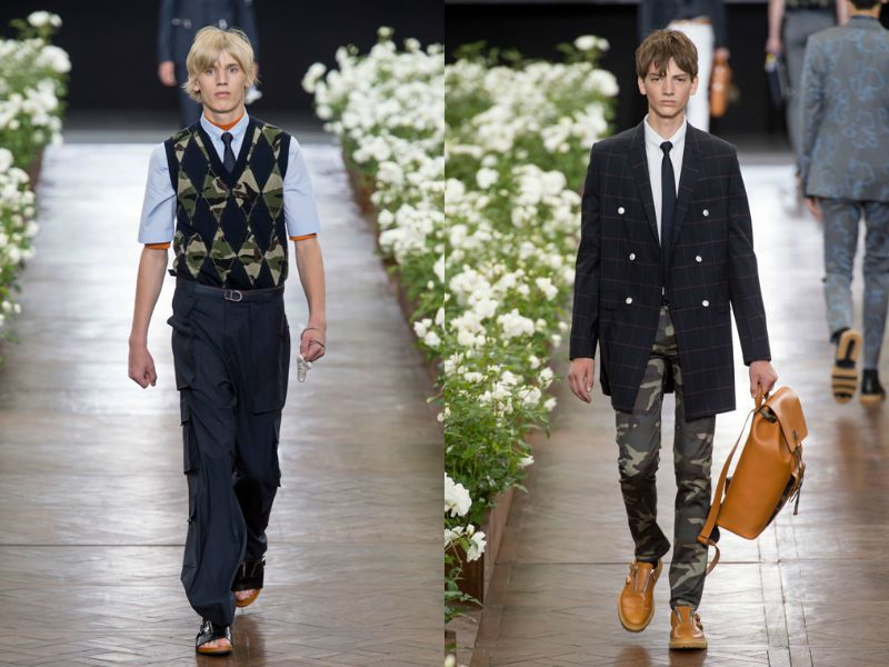 Сочетание стилей милитари и делового в коллекции Dior
