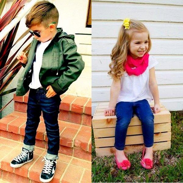 На фото модные детские джинсы для мальчиков и девочек