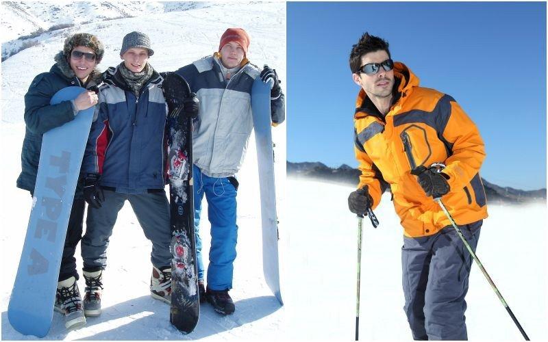Слева направо: Сноубордисты в специальной одежде и со сноубордами; лыжник в жёлтой куртке и серых брюках на лыжах