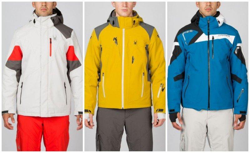 Парни в куртках Spyder белого, жёлтого и синего цветов и в брюках оранжевого, серого и белого цветов