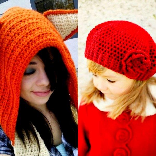 На фото модные шапки 2015 года для девочки