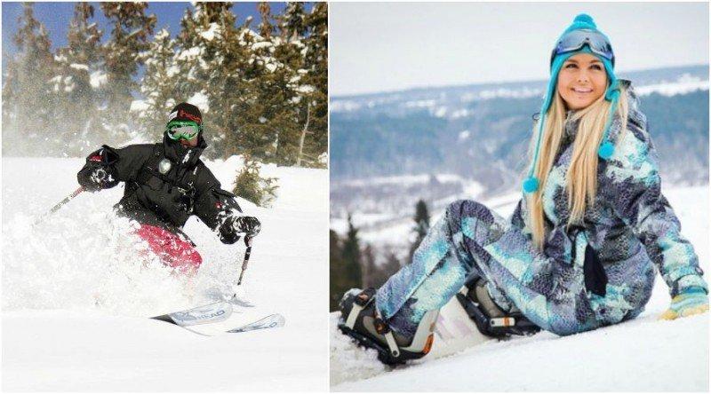 Парень и девушка в горнолыжных костюмах