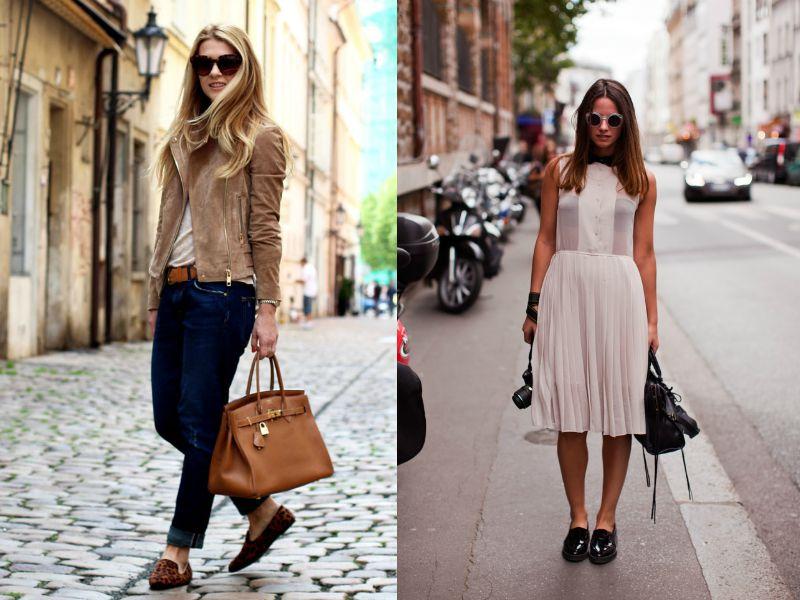 Лоферы хороши как с джинсами, так и с женственным платьем
