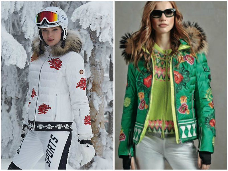 Девушки в куртках Bogner белого и зелёного цветов с рисунком и в брюках белого цвета