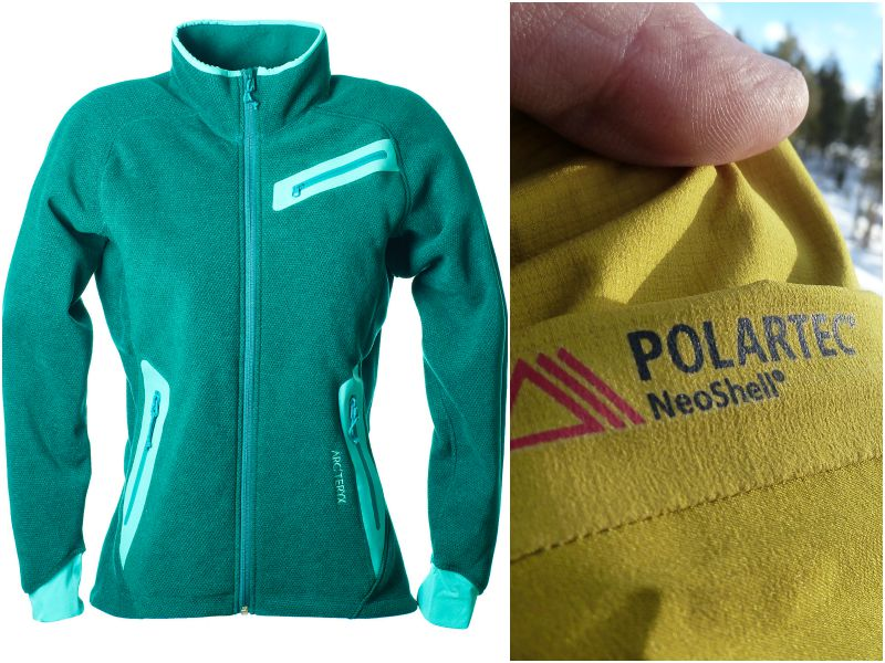 Толстовка Polartec зелёного цвета, логотип Polartec крупным планом