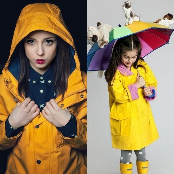На фото дождевики для девочек