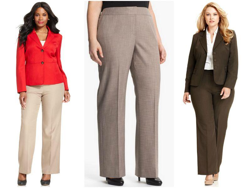 Прямые брюки для полных женщин