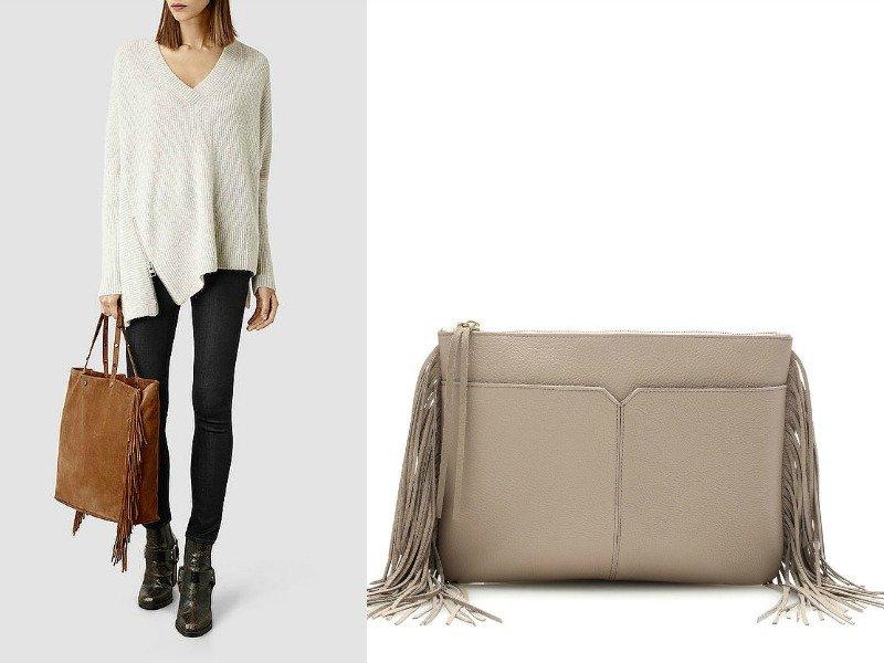 Девушка с сумкой с бахромой