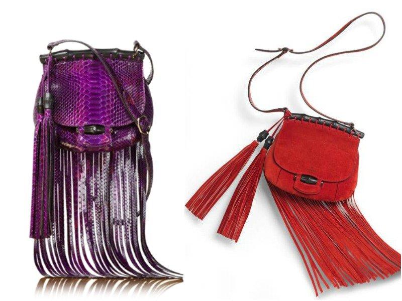 Две сумки с длинной бахромой