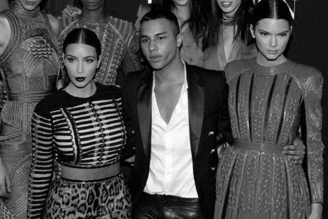 Ким Кардашьян, ОливьеРустен и Кендалл Дженнер на модном показе в Париже