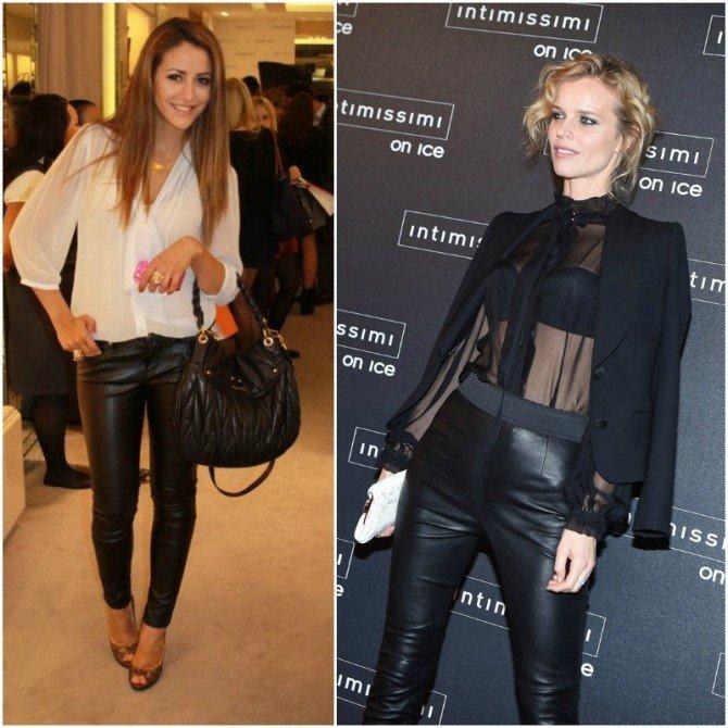 Полупрозрачные блузки в сочетании с кожаными брюками