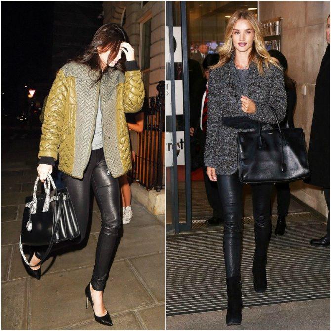 Девушкив кожаных брюках и с большой сумкой