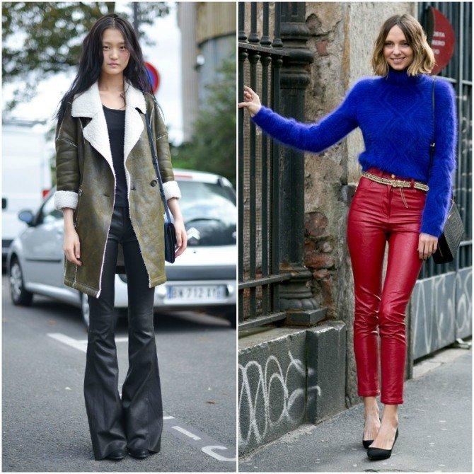 Девушки в широких и ярких кожаных брюках