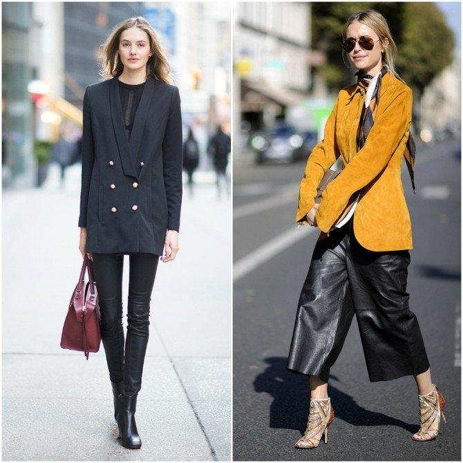Девушки в нарядах с пиджаком и кожаными брюками