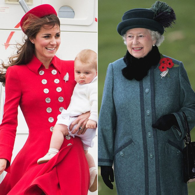Брошь «Лист папоротника» на королеве и герцогине