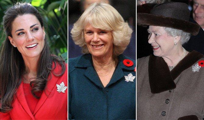 Брошь «Кленовый лист» на женщинах королевской семьи