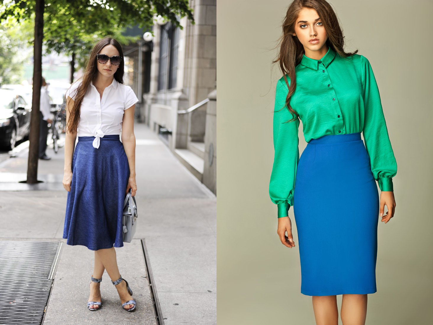 С чем одеть синюю юбку ниже колена