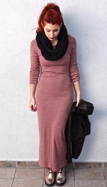 Длинное платье в полоску