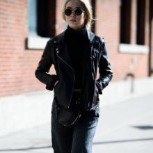 Модная женская кожаная куртка