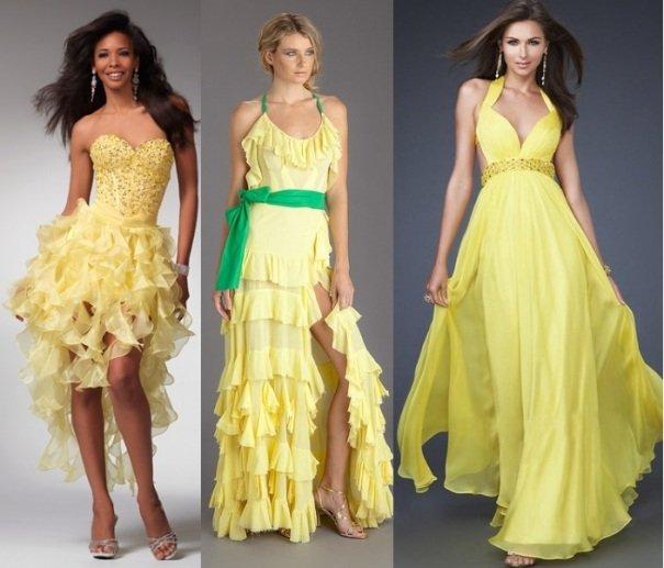 желтые платья в стиле ампир на фото