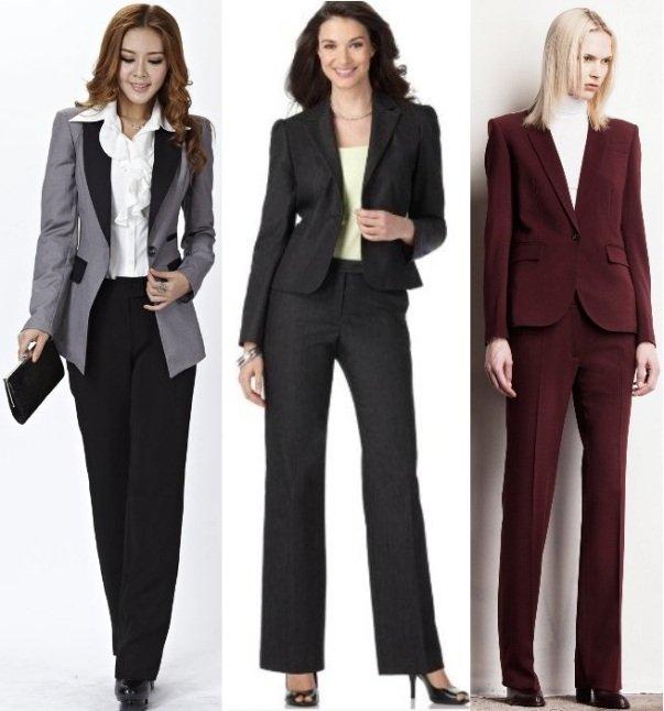 на фото офисные женские брюки на зиму