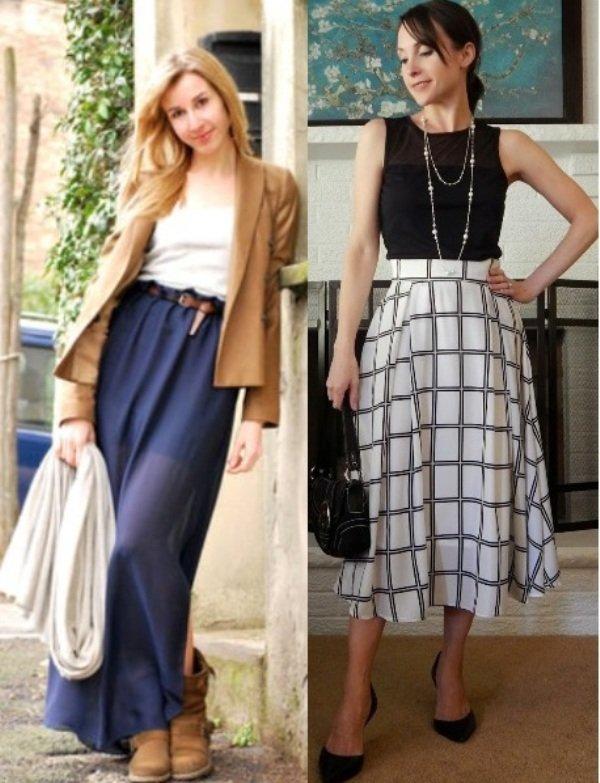 длинные шерстяные юбки на фото