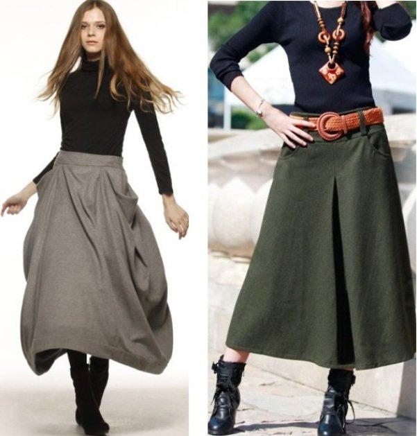 широкие тепляе юбки на фото
